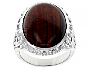 Pre-Owned Red tiger's eye rhodium over sterling silver solitaire ring