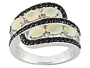 Pre-Owned Ethiopian Opal Rhodium Over Sterling Silver Ring 1.81ctw