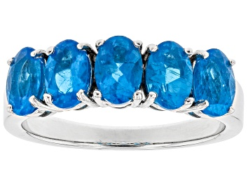 Picture of Pre-Owned Neon apatite rhodium over sterling silver ring 2.15ctw