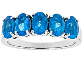 Pre-Owned Neon apatite rhodium over sterling silver ring 2.15ctw