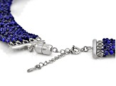 Pre-Owned Blue lapis rhodium over sterling silver graduated necklace