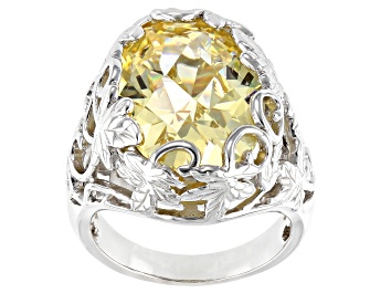 Picture of Pre-Owned Yellow Cubic Zirconia Rhodium Over Sterling Silver Ring 20.10ctw