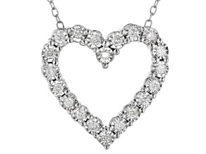 Pre-Owned White Diamond Rhodium Over Sterling Silver Heart Pendant With Chain 0.25ctw