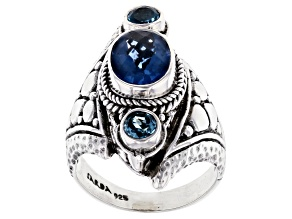 Pre-Owned Blue Fluorite And Swiss Blue Topaz Silver Ring 2.46ctw