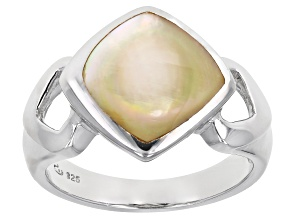 Pre-Owned Golden South Sea Mother-of-Pearl Rhodium Over Sterling Silver Ring