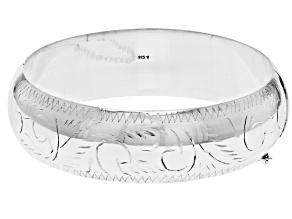 """Pre-Owned Sterling Silver 18MM 7"""" Engrave Bangle Bracelet"""