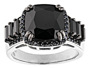 Pre-Owned Black Spinel Rhodium Over Sterling Silver Ring 4.82ctw