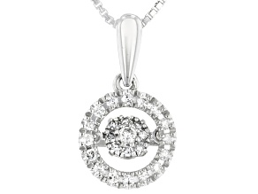 Pre-Owned White Diamond Rhodium Over Sterling Silver Dancing Diamond Pendant With Box Chain 0.20ctw