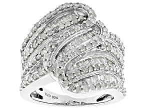 Pre-Owned White Diamond Rhodium Over Sterling Silver Cocktail Ring 2.05ctw