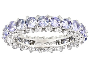 Pre-Owned Blue Tanzanite Rhodium Over Sterling Silver Eternity Band 3.90ctw