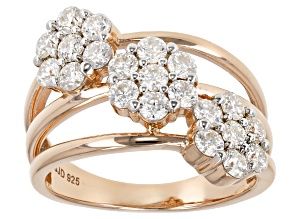 Pre-Owned Moissanite 14k Rose Gold Over Silver Ring 1.26ctw DEW.