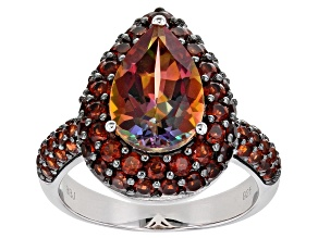 Pre-Owned Northern Lights™ quartz rhodium over silver ring. 4.29ctw