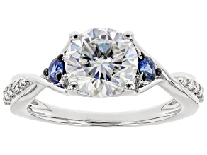 Pre-Owned Moissanite And Blue Sapphire Platineve Ring 2.00ctw DEW.
