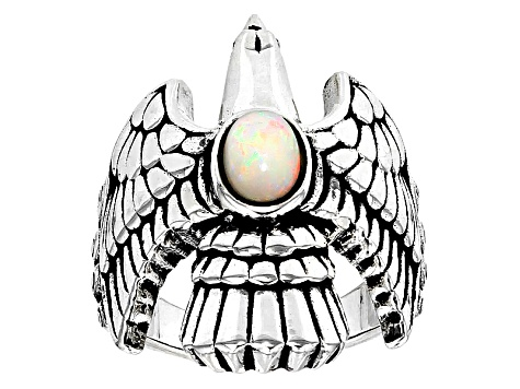 Pre-Owned Ethiopian Opal Silver Eagle Ring .43ctw