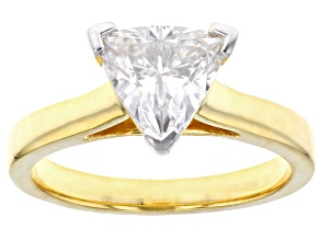 Pre-Owned Moissanite 14k yellow gold over silver ring 1.60ct DEW.