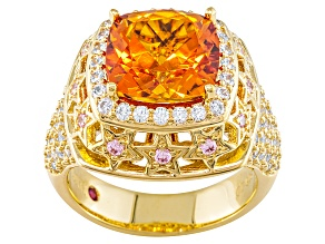 Pre-Owned Lab Created Orange Sapphire And Pink And White Cubic Zirconia 18k Gold Over Silver Ring 6.