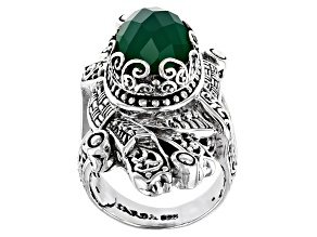Pre-Owned Green Onyx Silver Ring