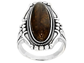 Pre-Owned Gray Mexican Labradorite Sterling Silver Ring