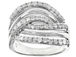 Pre-Owned White Diamond Rhodium Over Sterling Silver Ring 0.75ctw