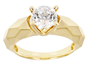 Pre-Owned Cubic Zirconia 18k Yellow Gold Over Silver Ring 2.17ct
