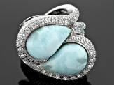 Pre-Owned Blue Larimar Sterling Silver Ring .79ctw