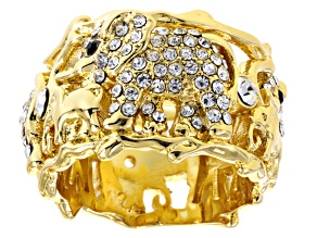 Pre-Owned White And Black Crystal Gold Tone Elephant Ring