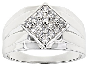 Pre-Owned White Cubic Zirconia Rhodium Over Sterling Silver Mens Ring 0.96ctw
