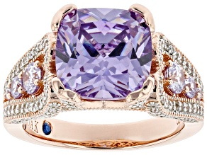 Pre-Owned Lavender And White Cubic Zirconia 18k Rose Gold Over Sterling Silver Ring 9.09ctw