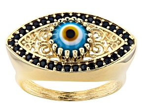 Pre-Owned  Black Spinel 18K Yellow Gold Over Silver Evil Eye Ring 0.50ctw