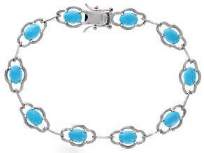 Pre-Owned Blue Sleeping Beauty Turquoise Rhodium Over Sterling Silver Bracelet