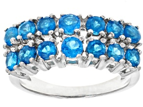 Pre-Owned Blue Neon Apatite Rhodium Over Sterling Silver Ring 1.27ctw