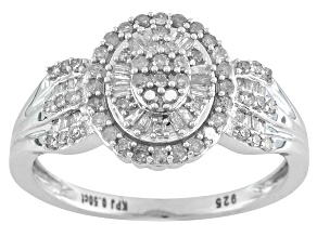 Pre-Owned Diamond .50ctw Round And Baguette Rhodium Over Sterling Silver Ring