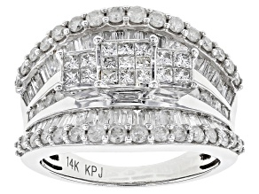 WOMENS 2CTW PRINCESS CUT WHITE DIAMOND HOLLOW 14KT WHITE GOLD 3-STONE RING