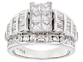 Pre-Owned Bella Luce 1ctw 3mm Princess Cut Cubic Zirconia .925 Sterling Silver Bridge Ring