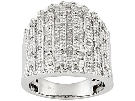 Womens Wide Band Ring Genuine Diamond 1.55ctw Baguette Round Silver -  PRE18061  e0ac40a6c5