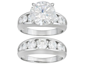 Womens Ring Band Set White Cubic Zirconia 8.70ctw Round Sterling Silver