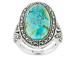 Turquoise Sterling Silver Ring .71ctw
