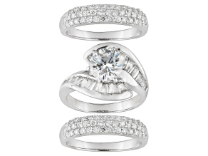 Pre-Owned Bella Luce ® 7.31ctw Rhodium Over Sterling Silver Ring With Bands