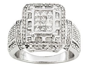 White Diamond Silver Ring 1.10ctw