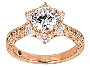 Cubic zirconia 18k rose gold over silver  ring 5.01ctw