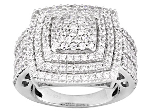 Cubic zirconia silver ring 3.88ctw