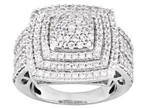 Cubic zirconia silver ring 3.88ctw