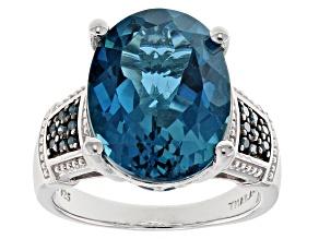 London Blue Topaz Sterling Silver Ring 10.60ctw.