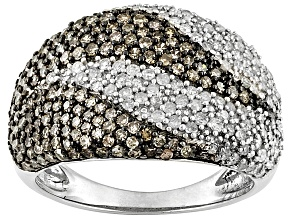 Pre-Owned 1.28ctw Round White Diamond & Champagne Diamond Rhodium Over Sterling Silver Band