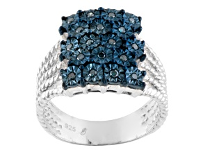 blue diamond silver ring .20ctw