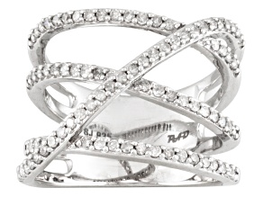 Diamond sterling silver wide band .70ctw
