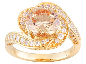 brown and white cubic zirconia 18k yellow gold over silver ring 5.69ctw