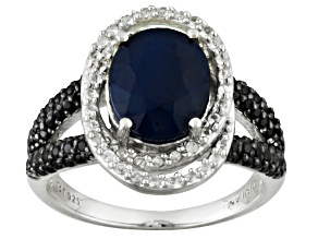 Blue sapphire sterling silver ring 3.48ctw.