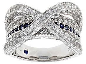 Pre-Owned Cubic Zirconia And Lab Created Sapphire Platineve Ring 1.58ctw