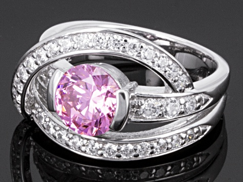 pink and white cubic zirconia sterling silver ring 3.62ctw